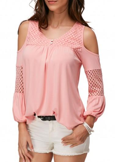 Pierced-Cold-Shoulder-V-Neck-Pink-Blouse