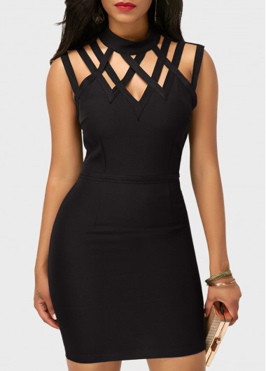 Cutout High Neck Sleeveless Black Sheath DressBodycon Dresses<br><br><br>color: Black<br>size: M,L,XL,XXL