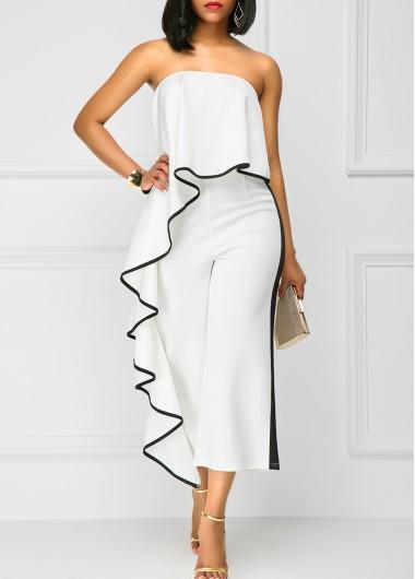 Strapless Ruffle Overlay White High Waist Jumpsuit