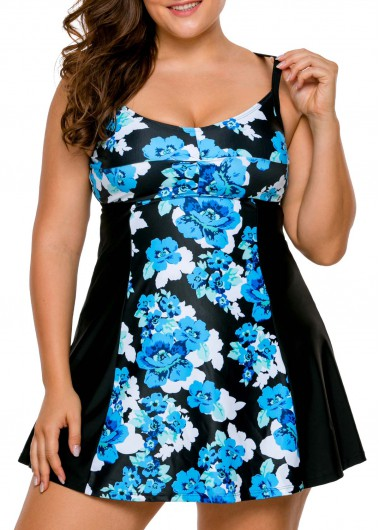 Flower Print Open Back Patchwork Swimdress and Panty