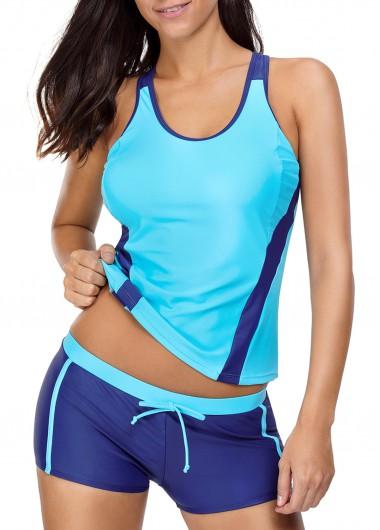 Drawstring Waist Round Neck Patchwork Blue Tankini SetSwimwear<br><br><br>color: Blue<br>size: S,M,L,XL,XXL