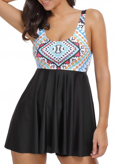 Open Back Printed Swimdress and Black ShortsSwimwear<br><br><br>color: Black<br>size: M,L,XL,XXL