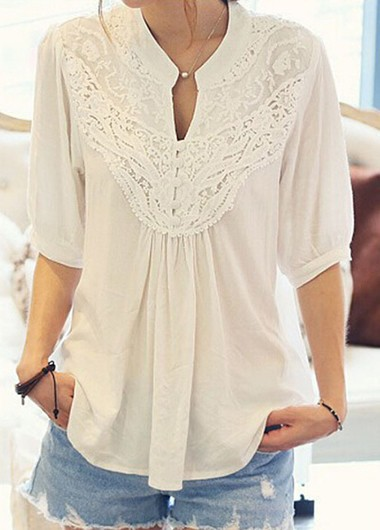 Lace Patchwork Half Sleeve White Blouse