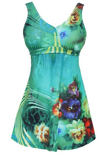 Flower Print Open Back Green Swimdress and Panty