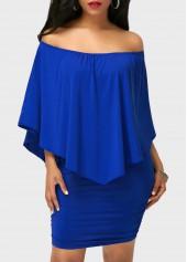 Ruffle Overlay Off the Shoulder Royal Blue Mini Dress