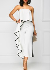 Strapless Ruffle Overlay White High Waist Jumpsuit