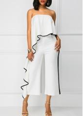 wholesale Strapless Ruffle Overlay White High Waist Jumpsuit