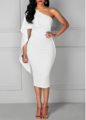 wholesale One Shoulder Overlay Knee Length White Dress