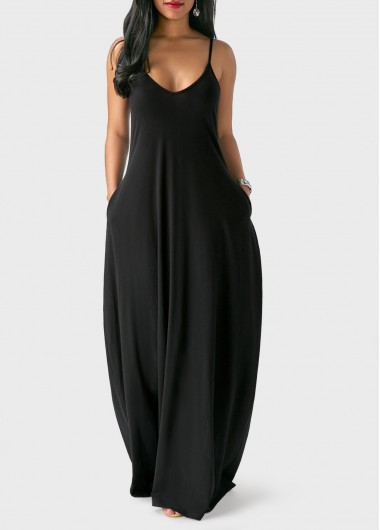 Spaghetti Strap Pocket Design Maxi DressMaxi Dresses<br><br><br>color: Black<br>size: S,M,L,XL,XXL