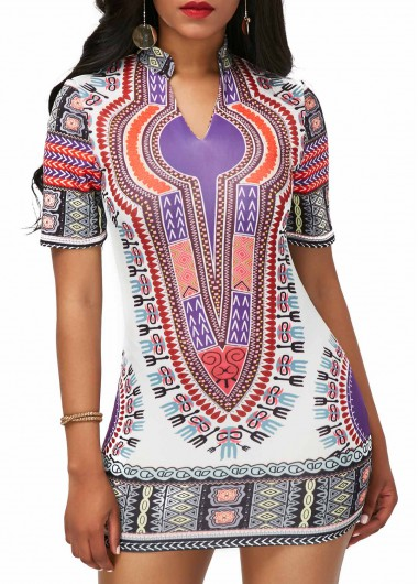 Split Neck Short Sleeve Dashiki DressPrint Dresses<br><br><br>color: Purple<br>size: S,M,L,XL,XXL