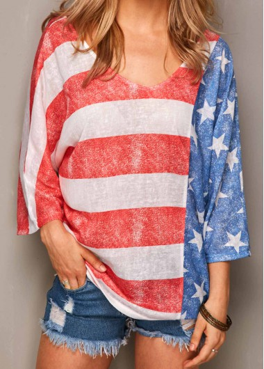 Three-Quarter-Sleeve-Stripe-Print-T-Shirt