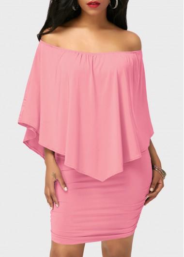 Off the Shoulder Ruffle Overlay Pink Mini Dress