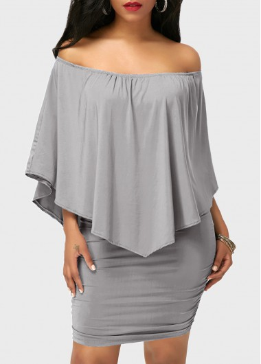 Grey Off the Shoulder Ruffle Overlay Mini DressCasual Dresses<br><br><br>color: Grey<br>size: M,L,XL,XXL