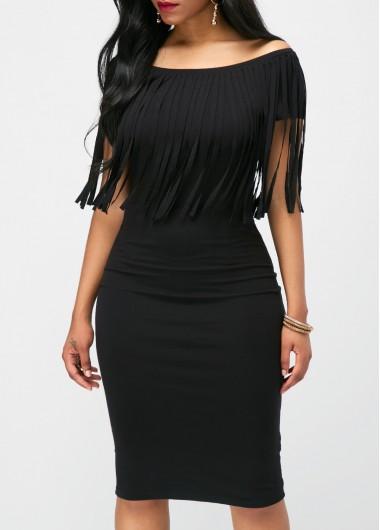 Boat Neck Black Tassel Embellished Dress