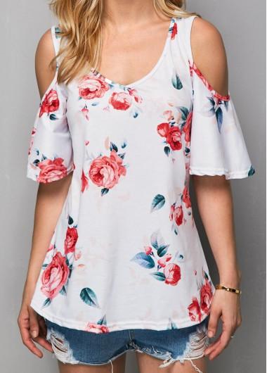 Cold Shoulder V Neck Flower Print T ShirtTees &amp; T-shirts<br><br><br>color: White<br>size: S,M,L,XL,XXL