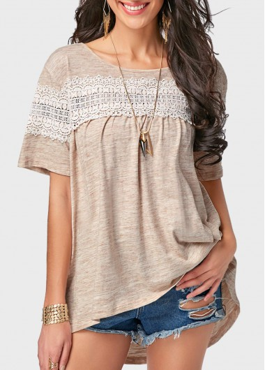 Short sleeve lace patchwork khaki t shirt