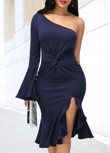 Side Slit Navy Blue One Shoulder Dress