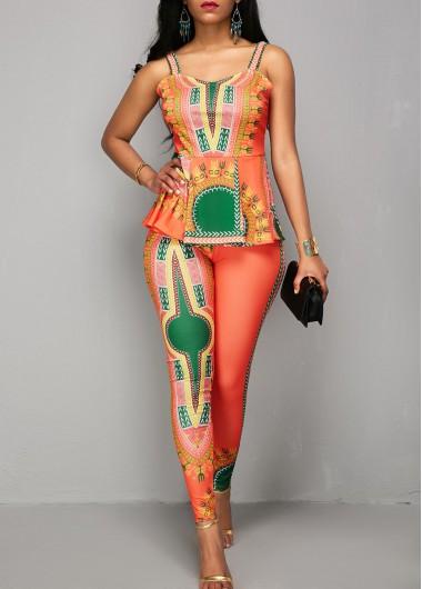 Printed Peplum Waist Spaghetti Strap JumpsuitJumpsuits &amp; Rompers<br><br><br>color: Orange<br>size: M,L,XL,XXL