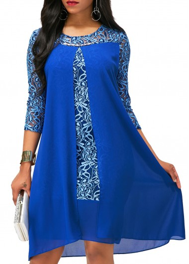 Asymmetric Hem Lace Patchwork Royal Blue Dress