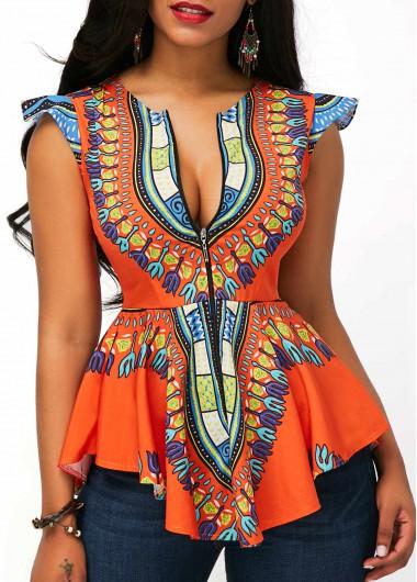 Printed-Zipper-Closure-Asymmetric-Hem-Cap-Sleeve-Blouse