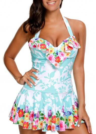 Printed Halter Neck Swimdress and PantySwimwear<br><br><br>color: Blue<br>size: M,L