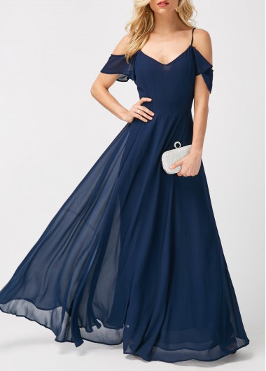 High Waist Strappy Cold Shoulder Navy Maxi Dress