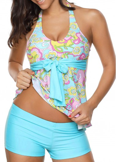 Open Back Printed Padded Top and ShortsSwimwear<br><br><br>color: Blue<br>size: M,L,XL,XXL