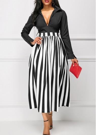 Buy Stripe Print High Waist Black Dress