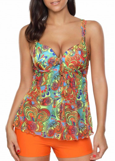 Bowknot Embellished Printed Top and Orange ShortsSwimwear<br><br><br>color: Orange<br>size: M,L,XL,XXL