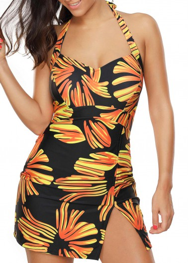 Open Back Printed Swimdress and PantySwimwear<br><br><br>color: Orange<br>size: M,L,XL,XXL