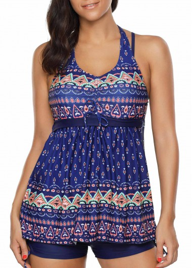 Printed Halter Navy Blue Tankini SetSwimwear<br><br><br>color: Navy blue<br>size: M,L,XL,XXL
