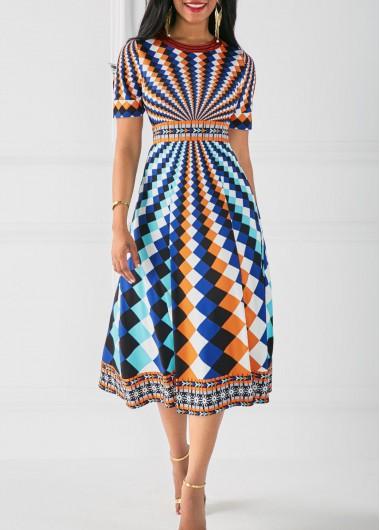 Printed Round Neck High Waist DressPrint Dresses<br><br><br>color: Blue<br>size: S,M,L,XL,XXL