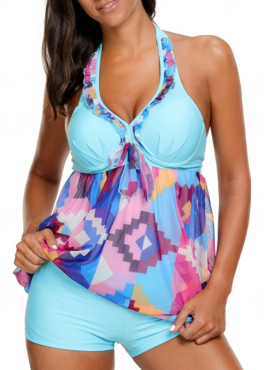 Printed Halter Neck Blue Underwire Swimdress and ShortsSwimwear<br><br><br>color: Blue<br>size: M,L,XL,XXL