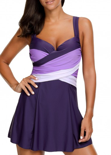 Wide Straps Padded Patchwork Purple Swimdress