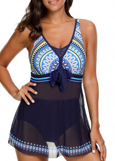 Bowknot Embellished Padded Printed SwimdressSwimwear<br><br><br>color: Navy blue<br>size: M,L,XL,XXL
