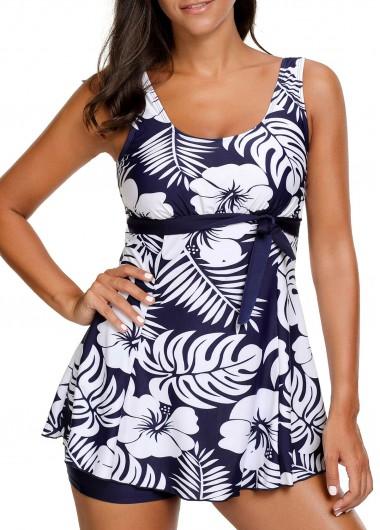 Scoop Neck Sleeveless Swimdress and ShortsSwimwear<br><br><br>color: Navy blue<br>size: M,L,XL,XXL