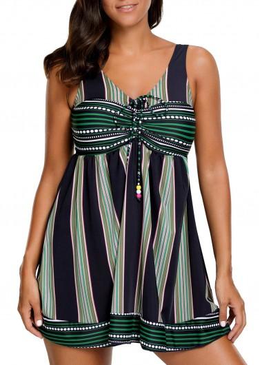 Stripe Print Padded Swimdress and ShortsSwimwear<br><br><br>color: Black<br>size: M,L,XL,XXL