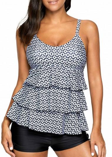 Layered Open Back Printed Black Tankini SetSwimwear<br><br><br>color: Black<br>size: M,L,XL,XXL