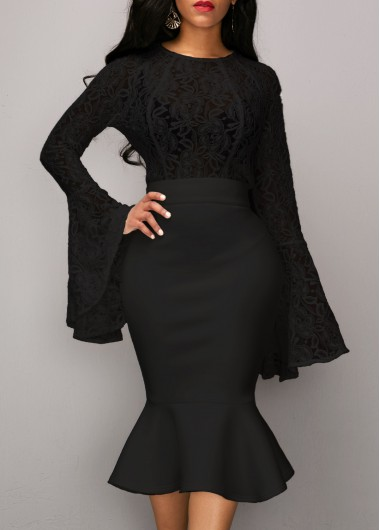 Flare-Sleeve-Black-Top-and-Mermaid-Skirt