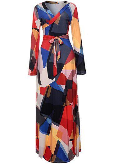 Long Sleeve V Neck Belted Maxi Dress