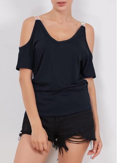 V-Neck-Solid-Black-T-Shirt