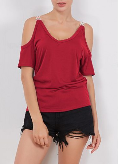 Wine Red Cold Shoulder T ShirtTees &amp; T-shirts<br><br><br>color: Wine Red<br>size: S,M,L,XL