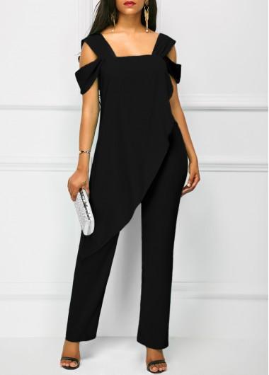 Black Open Back Overlay Wide Strap JumpsuitJumpsuits &amp; Rompers<br><br><br>color: Black<br>size: M,L,XL,XXL