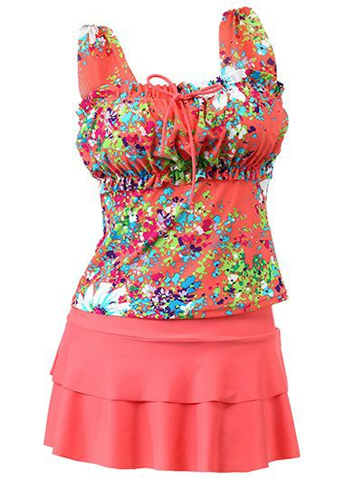 Wide Strap Flower Print Layered Tankini SetSwimwear<br><br><br>color: Red<br>size: M,L,XL,XXL