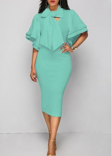 Layered Sleeve Tie Neck Blue Sheath DressBodycon Dresses<br><br><br>color: Blue<br>size: S,M,L,XL,XXL