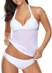 Padded Halter Neck White Tankini Set