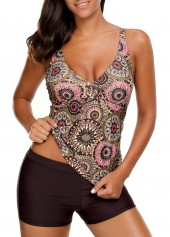 Padded Open Back Printed Tankini Set