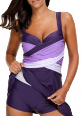 wholesale Wide Straps Padded Patchwork Purple Swimdress