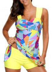 Wide Strap High Waist Printed Padded Swimdress and Shorts
