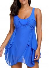 Asymmetric Hem Open Back Flouncing Blue Swimdress